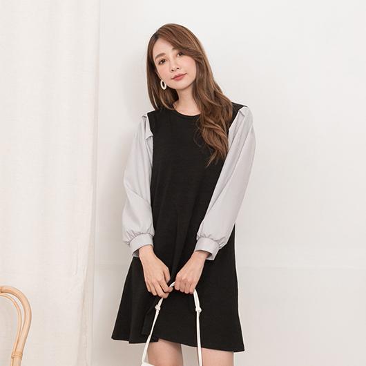 YOCO-青春氣息直條紋泡泡袖拼接設計洋裝