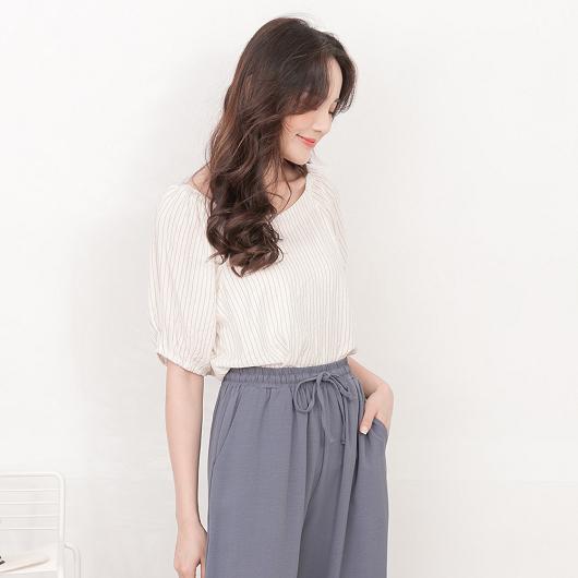 tokichoi-百搭休閒V領多色直條紋短袖上衣