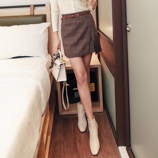 tokichoi-甜美女孩格紋前片開衩多色A字短裙