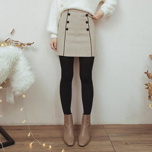 冬季戀歌雙排釦點綴質感磨毛短裙