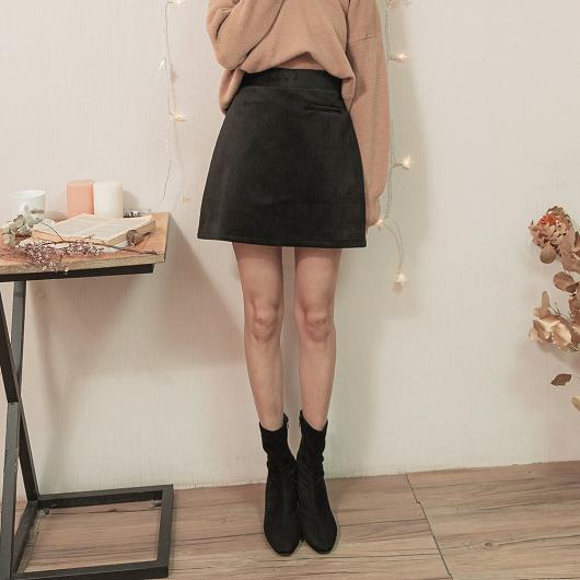 溫柔淑女假口袋造型絨布磨毛A字短裙