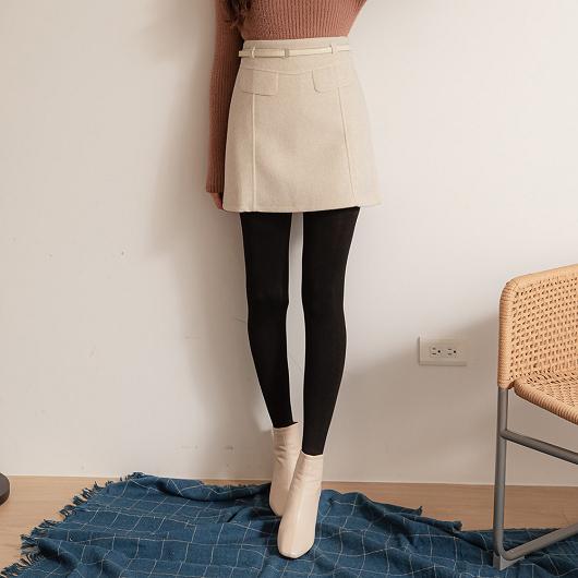 甜美可愛假口袋附腰帶磨毛A字短裙