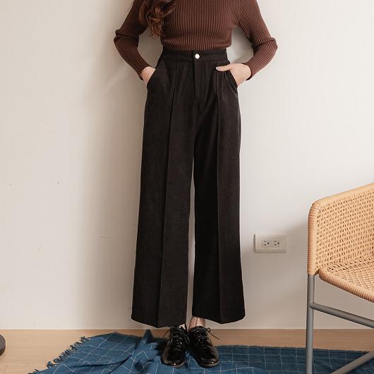舒適百搭立體打摺修長顯瘦磨毛長褲