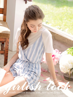 夏日甜心直條紋蝴蝶結流蘇綁帶連身褲-淺藍