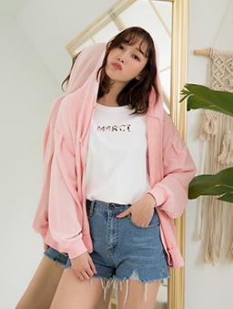 tokichoi -經典潮流寬鬆棉質連帽外套-粉色