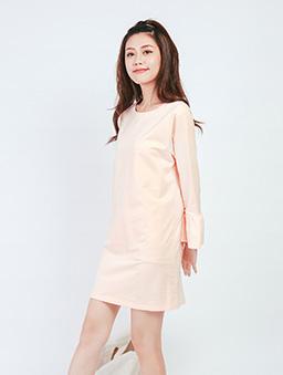 淘氣美媚素色喇叭袖棉質洋裝-粉色