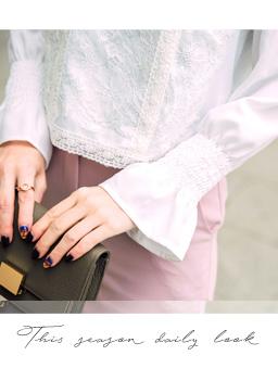 安琪聯名法式蕾絲質感荷葉袖上衣-米白