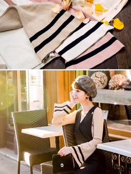 安琪聯名巴黎美學多色喇叭袖上衣-杏