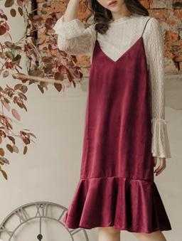 多色天鵝絨細肩帶魚尾洋裝-棗紅