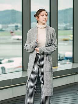 歐美時尚翻領設計針織外套-灰