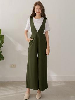 多色雜誌款高腰連身褲-軍綠