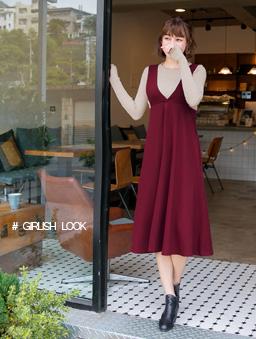 多色雜誌款高腰連身裙-深紅
