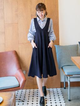 多色雜誌款高腰連身裙-深藍
