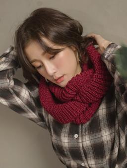 暖暖超Q百搭多色針織圍脖-酒紅