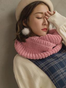 暖暖超Q百搭多色針織圍脖-粉色