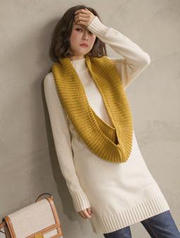 暖暖超Q百搭多色針織圍脖-芥末黃