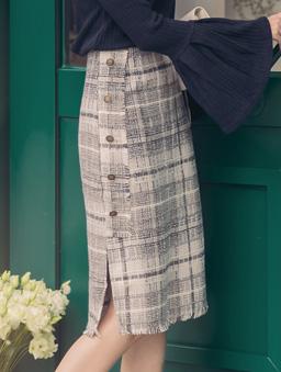 法式優雅配色格紋排釦開衩中長裙-灰