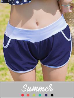 多色修身長腿翹臀海灘舒適真理褲-寶藍