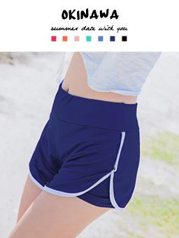 多色繽紛彈性舒適海灘褲-深藍