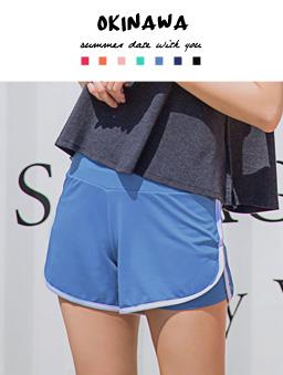 多色繽紛彈性舒適海灘褲-淺藍