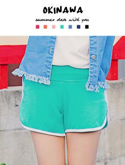 多色繽紛彈性舒適海灘褲-淺綠