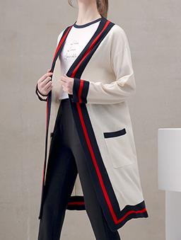 菲菲聯名質感撞色針織外套-白色
