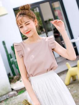 多色知性層次百褶袖上衣-粉色