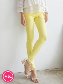 -3kg超彈力多色顯瘦美腿褲-黃