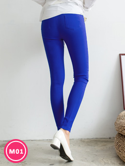-3kg超彈力多色顯瘦美腿褲-藍