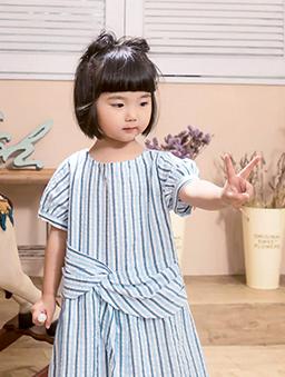 酷琪琪聯名休閒條紋設計感棉質洋裝-童-藍