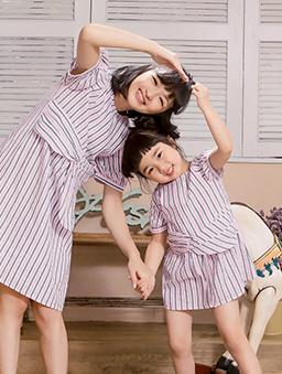 酷琪琪聯名休閒條紋設計感棉質洋裝-童-粉紅