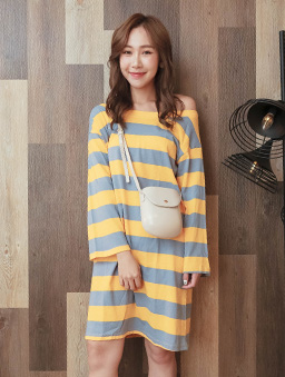 tokichoi-糖彩俏皮附綁帶條紋洋裝-黃