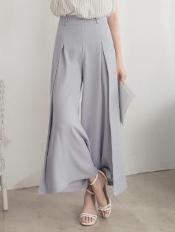 長腿歐膩前打褶側開岔高腰多色西裝寬褲-藍灰
