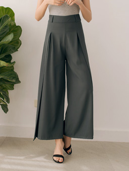長腿歐膩前打褶側開岔高腰多色西裝寬褲-藍綠
