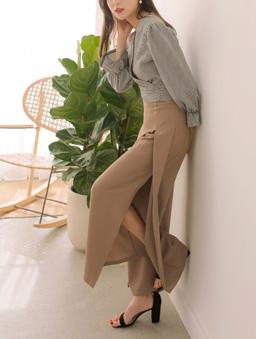 長腿歐膩前打褶側開岔高腰多色西裝寬褲-卡其