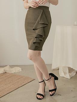 性感魅力多色波浪邊全鬆緊短裙-軍綠