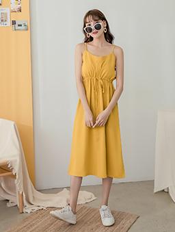 tokichoi-好感直升甜美腰綁帶細肩帶多色洋裝-芥末黃