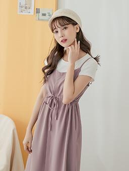 tokichoi-好感直升甜美腰綁帶細肩帶多色洋裝-暗粉