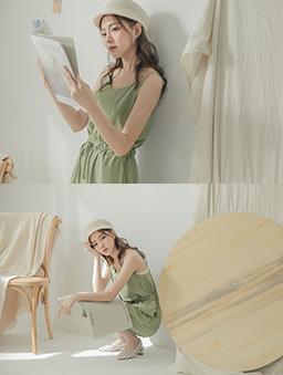 tokichoi-休閒甜美細肩帶縮腰多色連身褲-綠