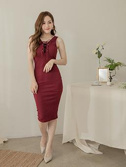 性感修身多色綁帶設計無袖洋裝-紅
