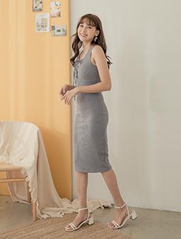 性感修身多色綁帶設計無袖洋裝-藍灰
