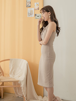 性感修身多色綁帶設計無袖洋裝-灰