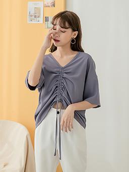 tokichoi-日系優雅前抓皺綁帶V領上衣-紫