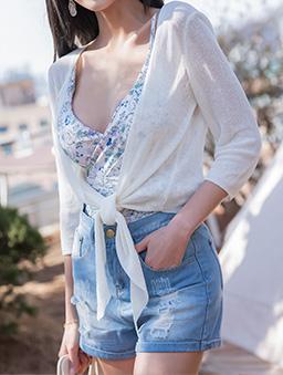 tokichoi-唯美透膚前綁結造型罩衫-白色