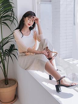 tokichoi-唯美透膚前綁結造型罩衫-杏