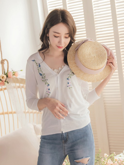 YOCO-氣質透膚刺繡小外套-米白