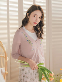 YOCO-氣質透膚刺繡小外套-粉色