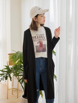 tokichoi -品牌嚴選雙口袋連帽澎袖罩衫外套-黑