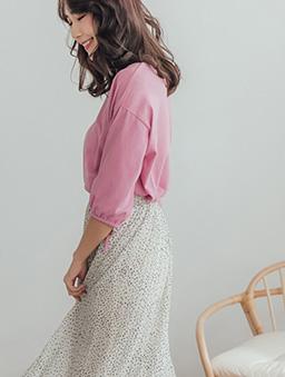 品牌嚴選舒適多色圓領袖口綁帶上衣-桃粉