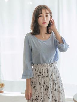 tokichoi -品牌嚴選親膚舒適圓領荷葉袖棉質上衣-藍